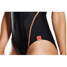 speedo Fit PowerMesh Pro Swimsuit Damen black/fluo orange